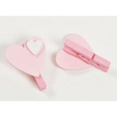 Mollettina legno cuore rosa